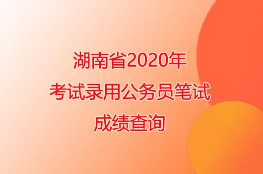 湖南省2020年考试录用公务员笔试成绩查询